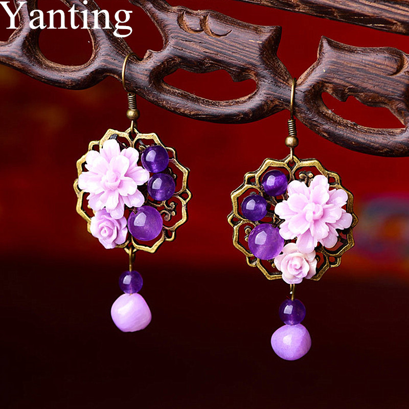 Yanting Palace Flower Drop Earrings With Natural Stones Purple Chalcedony Vintage Luxury Statement Earings Fashion Jewelry 0256