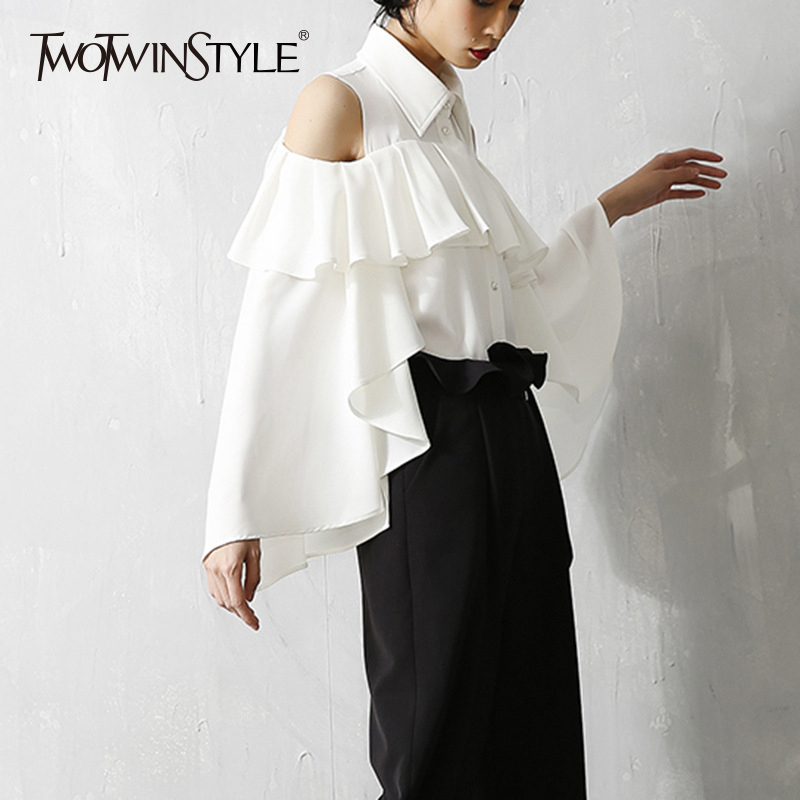 TWOTWINSTYLE Ruffles Patchwork Shirt For Women Chiffon Off Shoulder Flare Sleeve White Blouse Tops Summer Fashion