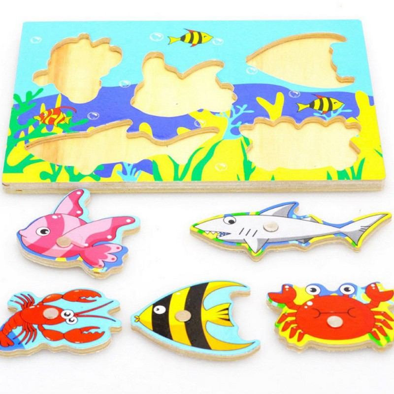 Colorful Fishing Puzzle 3D Wooden Toys For Toddlers Kids Children Cute Educational Toys Hot Selling