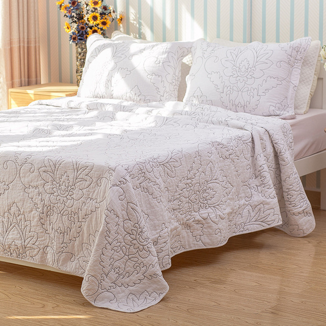 Chausub Quality White Coverlet Set 3pcs 100 Cotton Quilt Embroidery