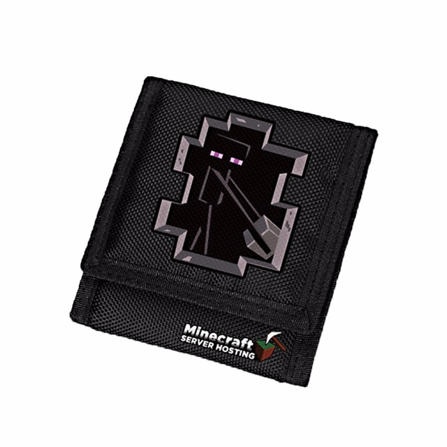 Computer Game Minecraft Enderman Oxford Negro Corto Niños Monedero Carteira Billetera