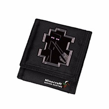 Computer Game Minecraft Wallet Enderman Oxford Black Short Purse Children Carteira