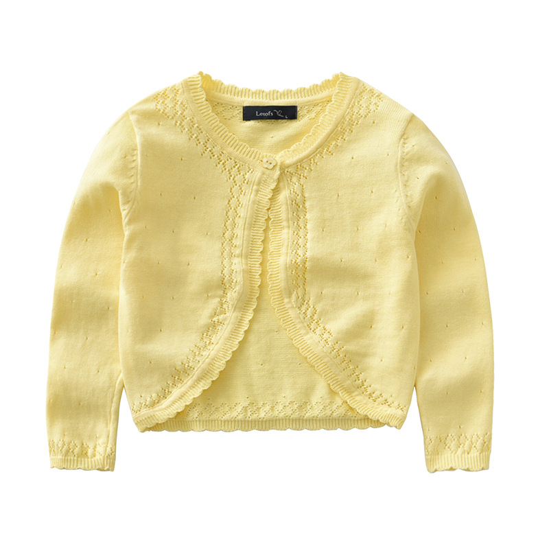 2018 Baby Girls Cardigan Coat Solid Long Sleeve Baby Girls Hollow Knit Sweaters For Girls Kids Thin Sweaters Outerwear Top BC187
