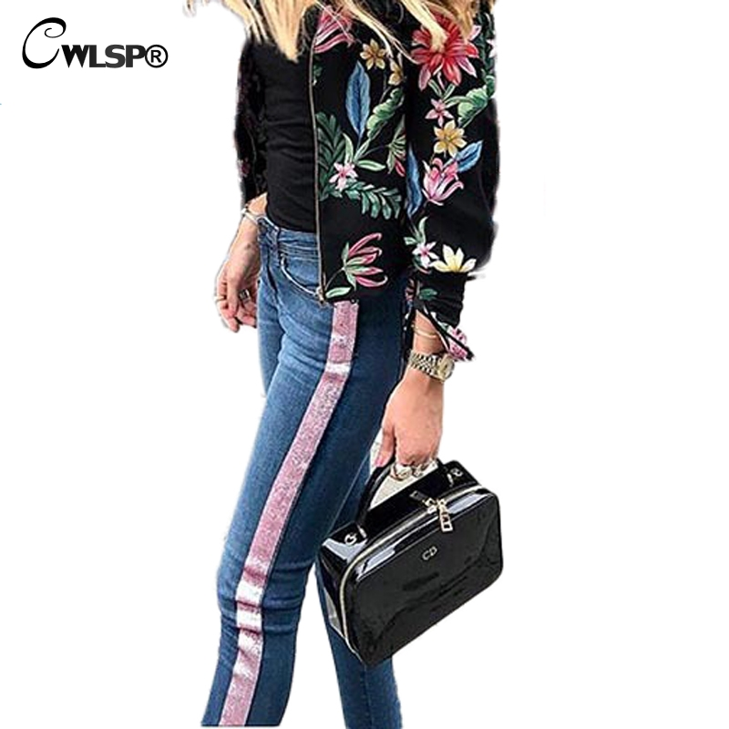 3b029b2392e CWLSP Jeans For Women Skinny jeans Side Pink stripes Women Pencil Sexy Pants  with Zipper Trousers pantalon jean femme QL3501-in Jeans from Women s  Clothing ...