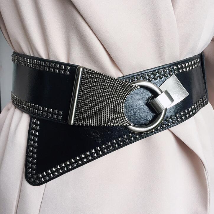 Women's Runway Fashion Metal Rivet Punk Pu Leather Cummerbunds Female Dress Corsets Waistband Belts Decoration Wide Belt R919