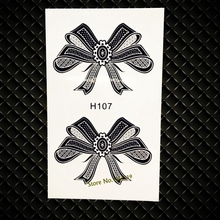 Cute Bowknot Waterproof Temporary Tattoo Black Bow Tie Fake Flash Tattoo Sticker GH107 Henna Removable Tattoo Sticker Healthy