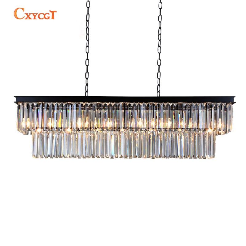 Best Price American Country Crystal Chandelier Dining Room Creative Rectangular Pendant Lamp LED Lighting RH