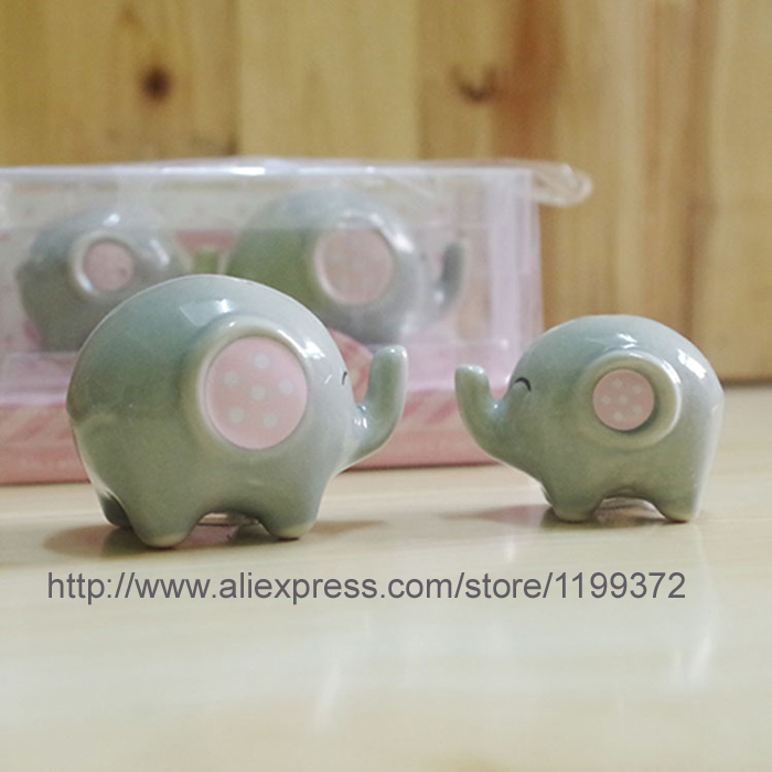 100pcsu003d 50sets Baby Shower Favor U0027Mommy And Me   Little Peanut Elephant  Ceramic Salt And Pepper Shaker Wedding Favors And Gifts