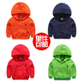 Solid color baby sweatshirt 100% 2017 cotton spring and autumn children's clothing with a hood child outerwear male child casual