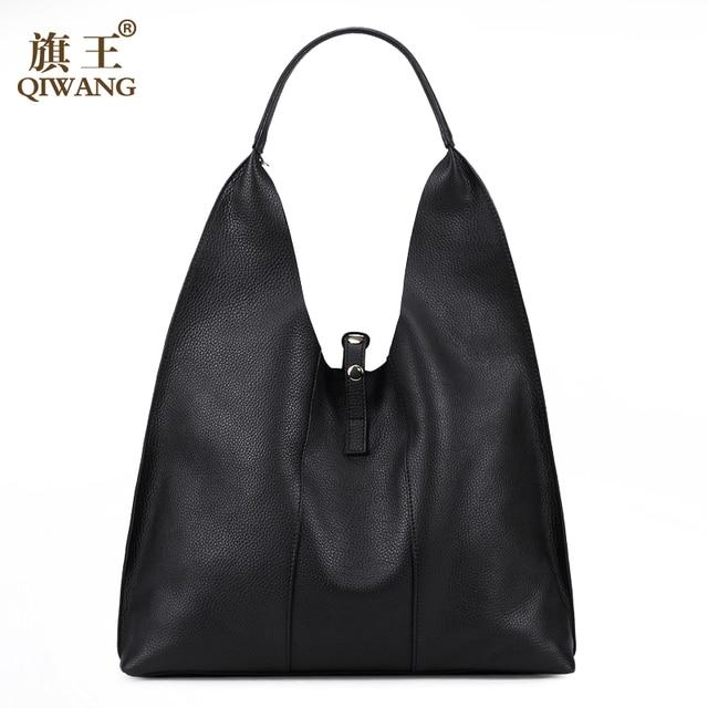 35ef59e7042 QIWANG Designer Vrouwen Handtas Luxe Lederen Tassen Handtassen Dames  Draagbare Schoudertas Mode Dames Hobos Tas Grote