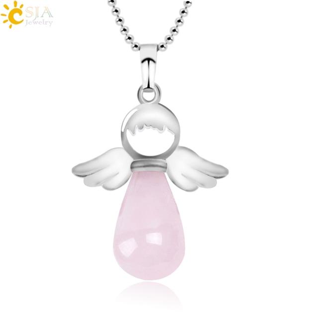 CSJA Angel Wings Natural Stone Necklaces Pink Quartz Lapis Lazuli Angles Pendants for Women Girl Purple Female Jewelry Gift E947