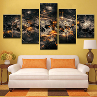Modular Canvas Paintings Unframed Wall Art Modern 5 Pieces Unique Abstract Horror Skull Poster HD Printed