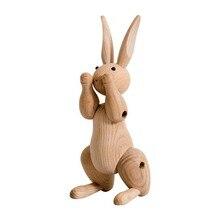 אופנה עץ קישוטי ארנב צלמיות נורדי קישוט בית חמוד בעלי החיים אמנות