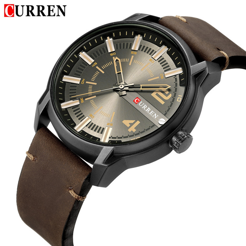 CURREN Mens Watches Waterproof Top Brand Luxury Leather Band Sport Business Military Army Male Clock Gift Relogio Masculino 8306