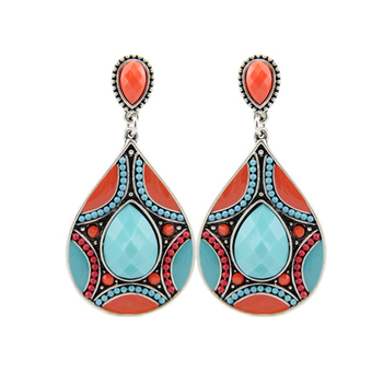 Women's Ethnic Ornamental Earrings Earrings Jewelry Women Jewelry Metal Color: red