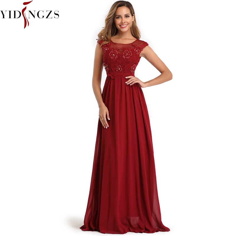 YIDINGZS Elegant Chiffon Formal   Evening     Dress   Appliques Beading Long Party   Dress   2019