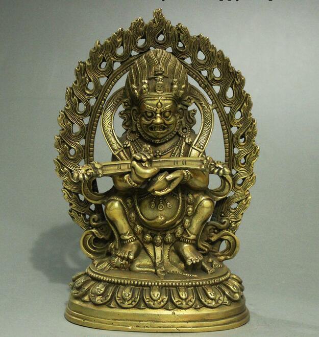 Old China Tibetan Buddhism Brass Mahakala King Kong Guardian Buddha Statue statue