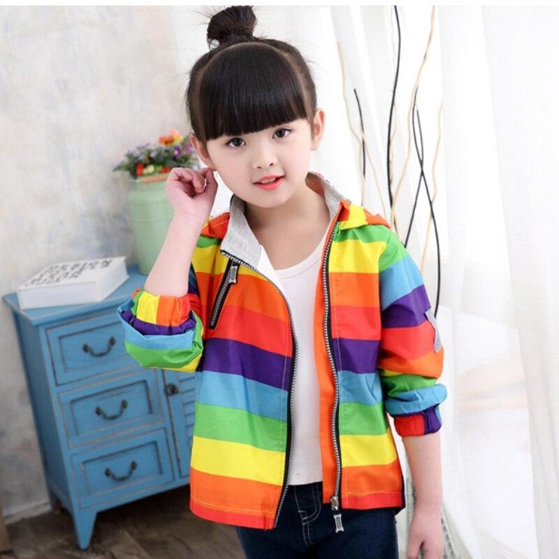 Модная детская одежда куртка с капюшоном пальто милый Демисезонный дети радуги Одежда для маленьких мальчиков и девочек От 2 до 6 лет
