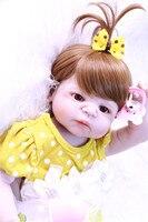DollMai 22 full silicone reborn baby dolls girl body new hair color wig bebes reborn menina de silicone menina 55 cm
