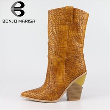 BONJOMARISA half-knee Boots Spring Autumn Fashion Snake Prints Westeren Boots man-made Leather Pointed Toe Boots Plus Size 33-46(China)
