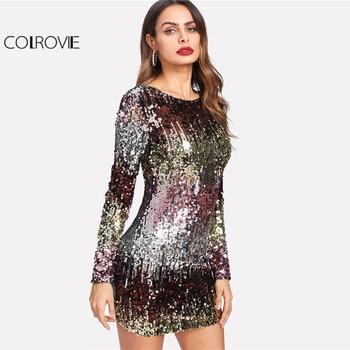 COLROVIE Iridescent Sequin Dress Round Neck Long Sleeve Sexy Party Dress With Zipper Women Sheath Autumn Short Dress 1
