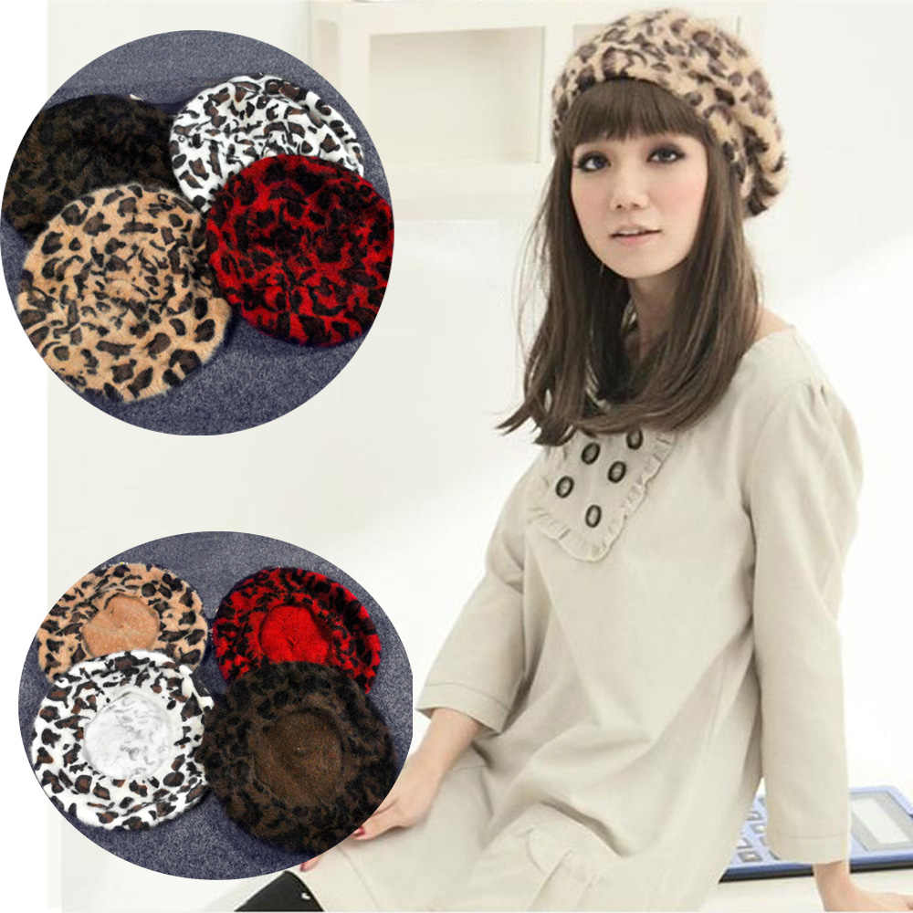 4fa4b9e979bed Women French Style Vintage Leopard Print Wool Soft Winter Warm Beret Beanie  Hat HATBD0055