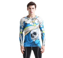 2016 sublimation camping Compression Base Layer Gym Fitness Tights Men t shirt  outdoor Training Shirts Men's Wicking T-shirts