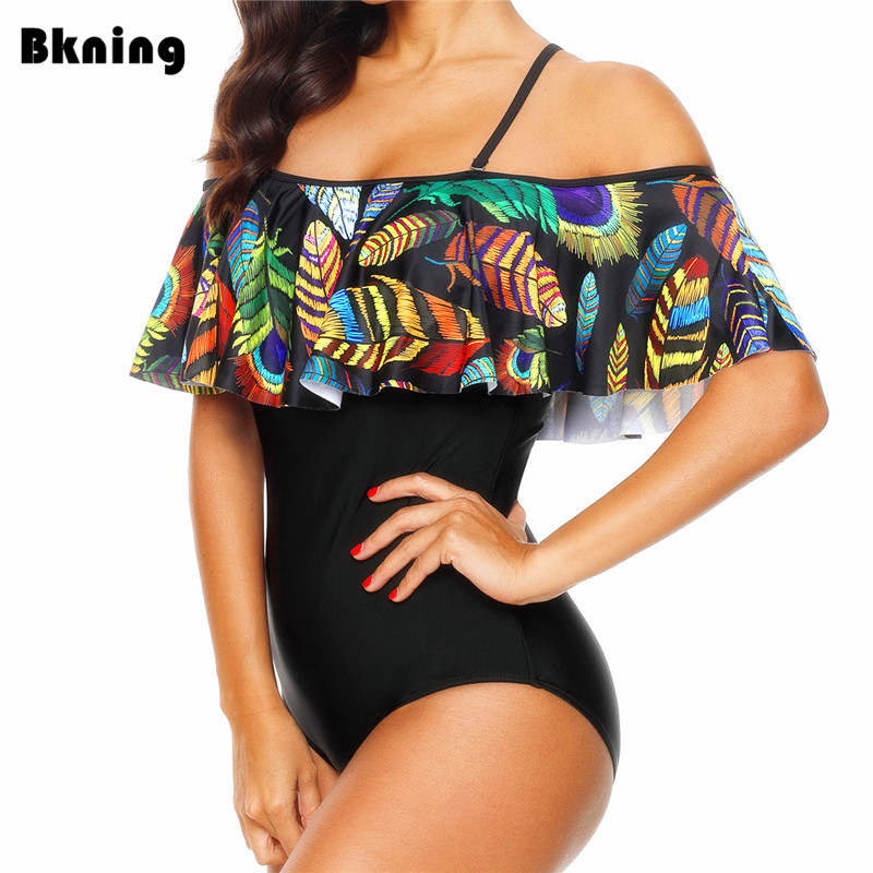 Ruffle Swimsuit 1 Piece One Women Large 2019 XXL Monokini Plus Size Trikini Print African Swimwear Strappy Pad Maillot De Bain