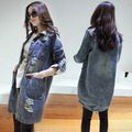 Весна / осень беременным куртка джинсовые рубашки хлопок широкий отверстия длинный жакет беременных куртки Большой размер женские джинсовые рубашки