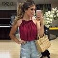 YNZZU лето женщины топ ruched шеи майки сексуальная с плеча рукавов Блузки Femininas пляж одежда высочайшее качество YT035