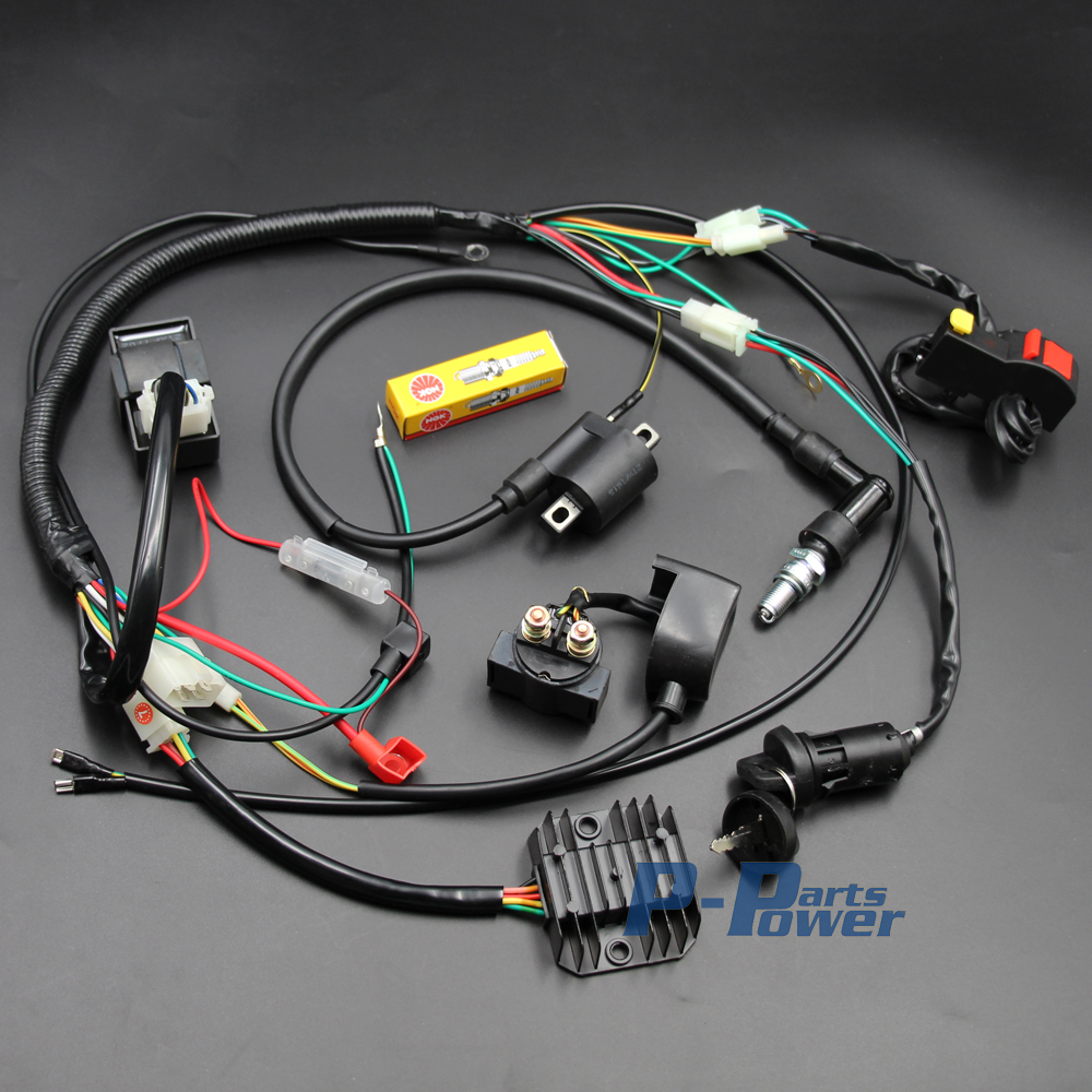 compare prices on coiled electrical wire online shopping buy low complete engine electrics wiring harness spark plug ac cdi ignition coil kits for chinese dirt bike