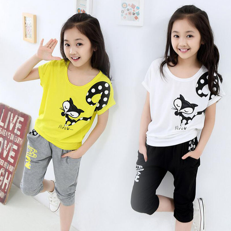 New 2018 Summer Style Girls Casual Cartoon Clothing Sets 3
