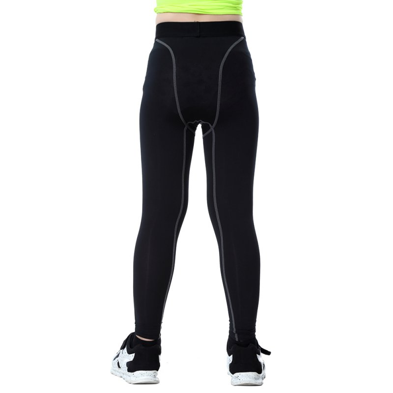 Chilldren Quickly Dry Sport Pants Elastic Waist Skinny Sports Shorts Polyester Running Sports Cycling Long Black Pants
