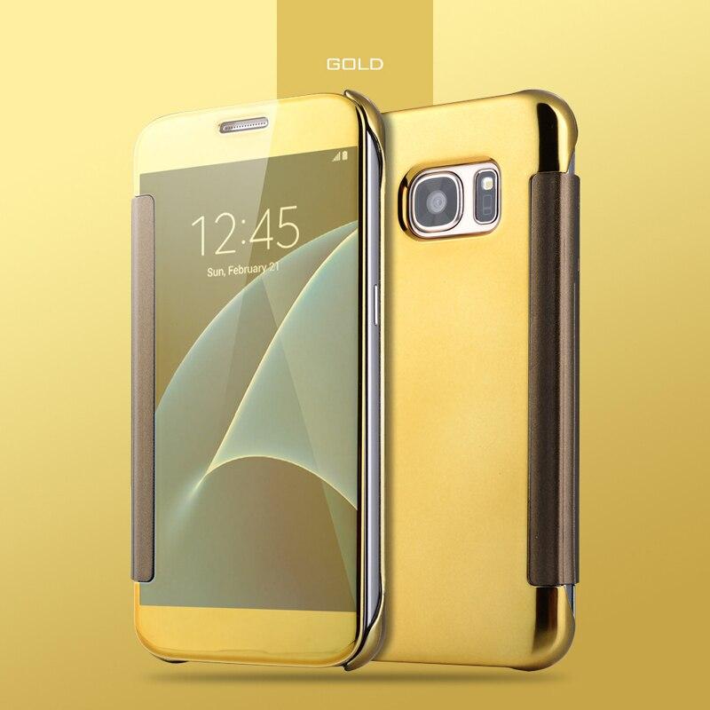 Mirror Smart View Flip Leather Case Phone Bag For Samsung Galaxy S8 Plus S7 S6 Edge S5 Note 8 5 4 C5 C7 C9 Pro