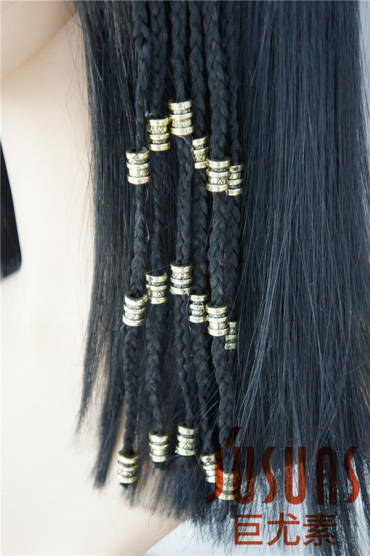 Långa Braid Black Paryk Egypten Cleopatra Parykar Med Smal Bangs - Dockor och tillbehör - Foto 3