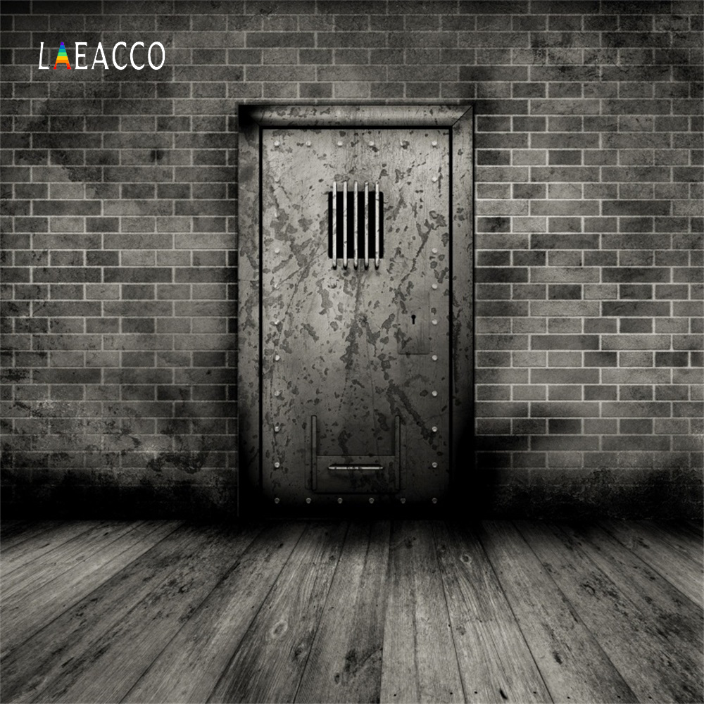 Laeacco Dark Old Door Brick Wall Wooden Floor Grunge Portrait Photography Backgrounds Photographic Backdrops For Photo Studio