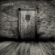 Laeacco Dark Old Door Brick Wall Wooden Floor Grunge Portrait Photography Backgrounds Photographic Backdrops For Photo Studio 12ft vinyl cloth dark old brick wall wood floor photo studio backgrounds for model newborn portrait photography backdrops f 257