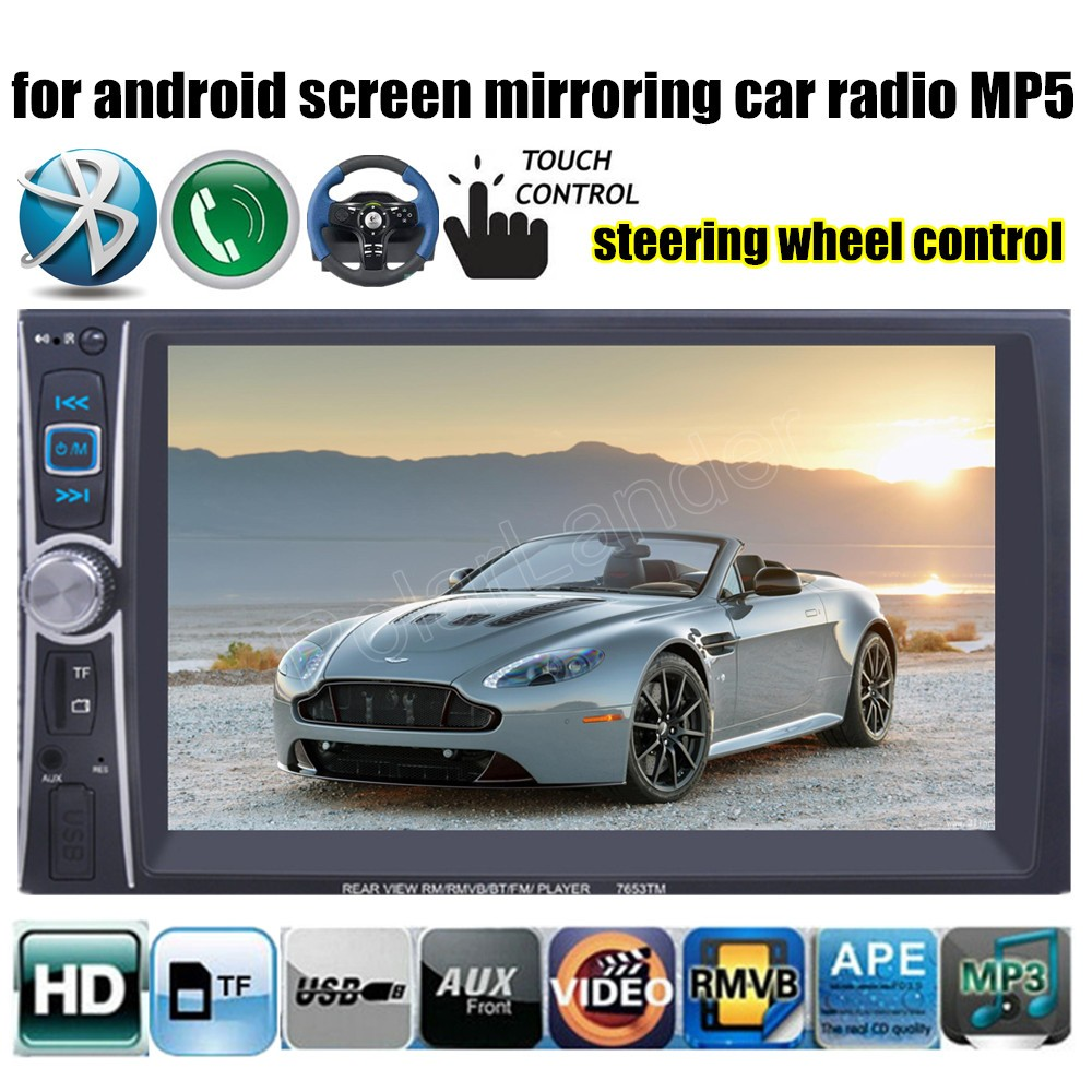6.6 Inch Car Radio Stereo Video 2 Din Bluetooth FM DVR input for android screen mirroring steeing wheel control MP4 MP5 player