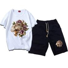 Men Summer Casual Sport Tiger Print Floral White T Shirt Top Tee Suit Sets Black Pants недорого