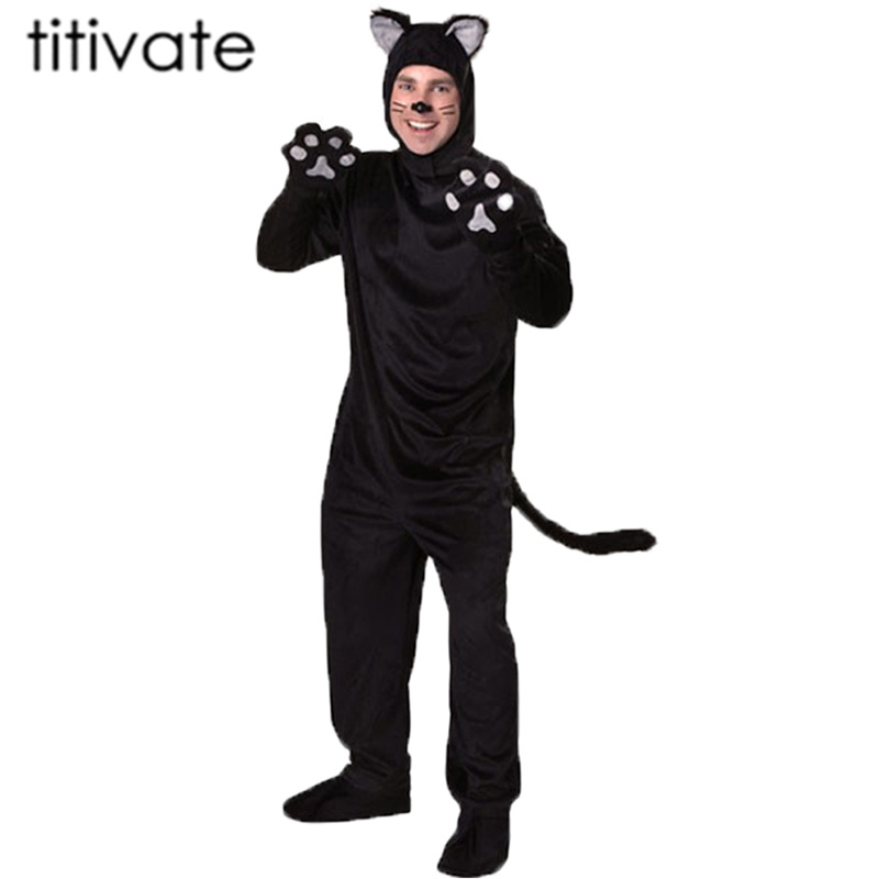 TITIVATE Man's Halloween Adult Black Cat Costume For Men Cosplay Costumes  Animal Cartoon Cat Bear  costume Luxury Clothes