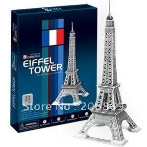 Дети любимая игрушка подарок Новый прибытия CubicFun 3D модель бумаги головоломки здание Эйфелева Башня Париж DIY Silver бесплатная доставка C705H