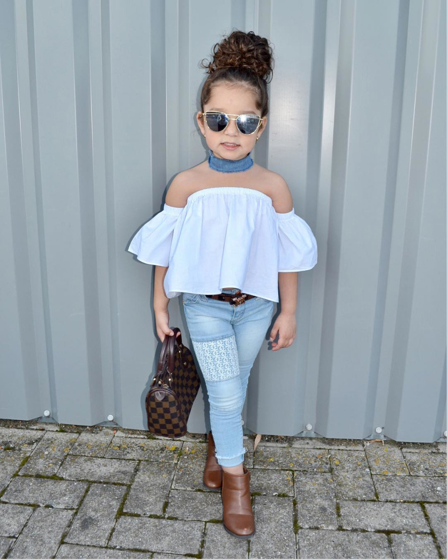 03050ae785cc52 Cute Christmas Costumes Children Clothing Set Kids Girl Off Shoulder Tops+Lace  Denim Pants 2018 New Bebes Baby Girls Clothes Set