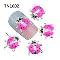 10 unids/pack nueva mariquita rosada 3D Nail Art decoraciones DIY uñas aleación herramientas encantos Strass negro tacos suministra TN1002