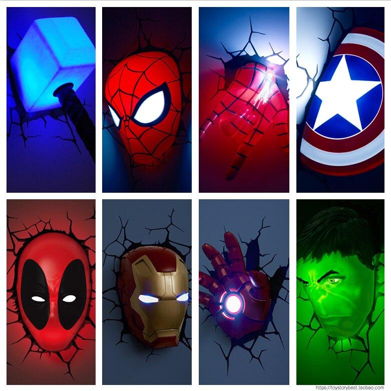 Nouveau Marvel avengers Captain America Iron Man LED chevet chambre salon 3D créatif applique murale décorée veilleuse
