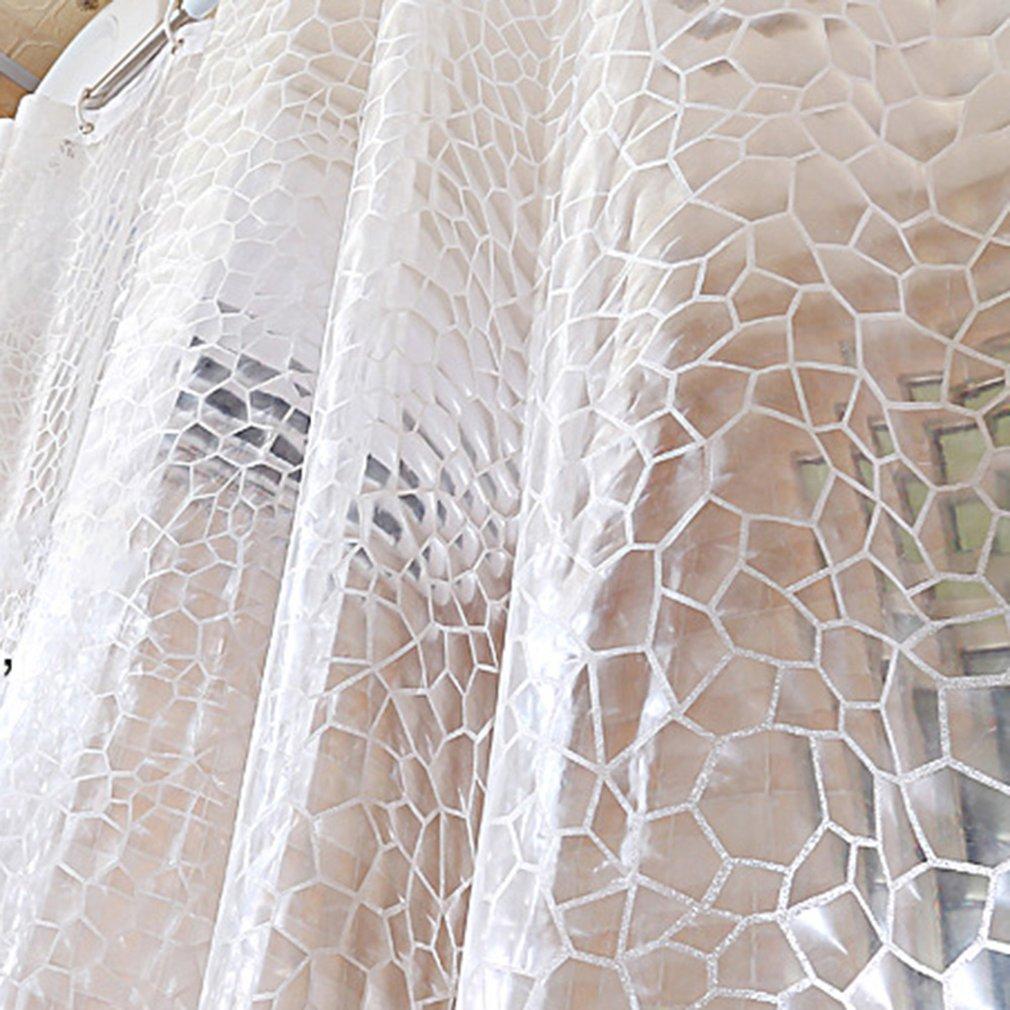 1.8 * 1.8m 3D Thickening Bathroom Transparent 3D Water Cube EVA Shower Curtain Environmental Waterproof   - title=