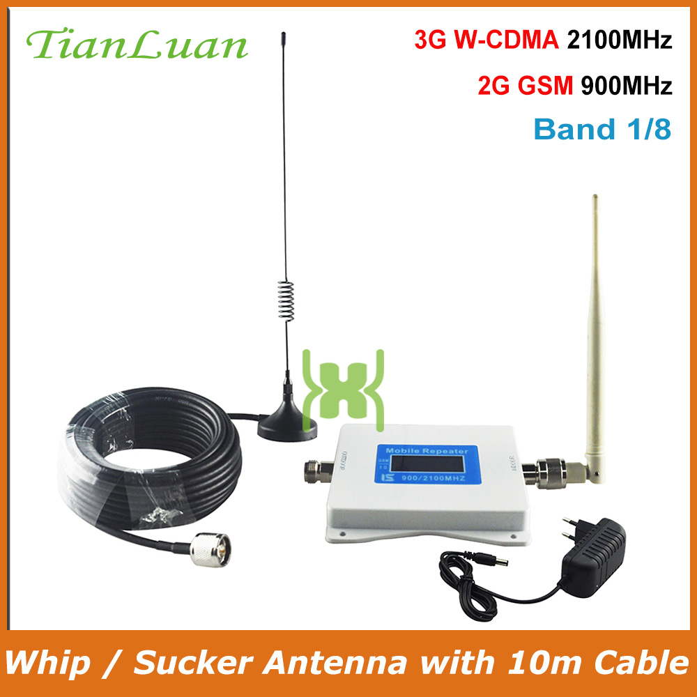 TianLuan Dual Band 1,8 2G 900MHz 3G 2100MHz Mobile Phone Signal Booster GSM W-CDMA UMTS Cellular Phone Signal Repeater Amplifier