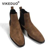 VIKEDUO/2019 классические ботинки челси для мужчин ручной работы замшевые ботильоны Мужской заказ осень квадратный носок Мужская обувь свадебны
