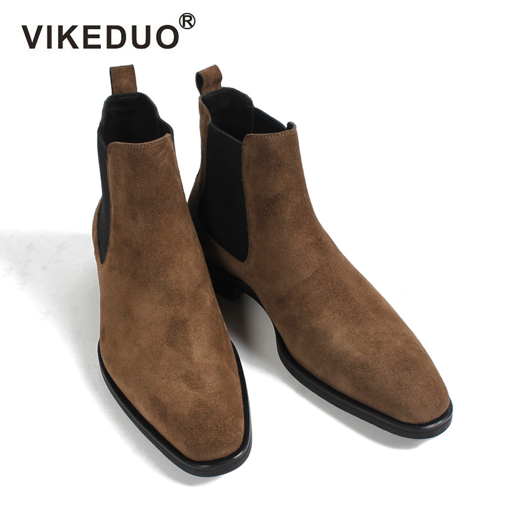 VIKEDUO 2019 Classic Chelsea Boots Men Handmade Suede Ankle Boots Male Bespoke Autumn Square Toe Men's Shoe Wedding Office Botas