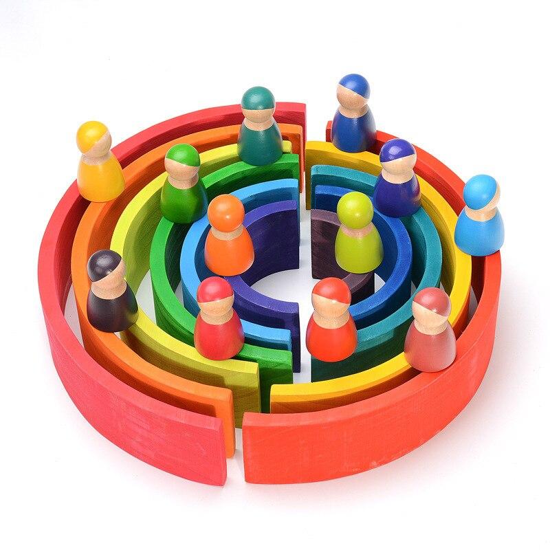12 pièces Montessori arc-en-ciel Puzzle coloré arc pont construction formes tri préscolaire jouet pour 2-12 ans - 3
