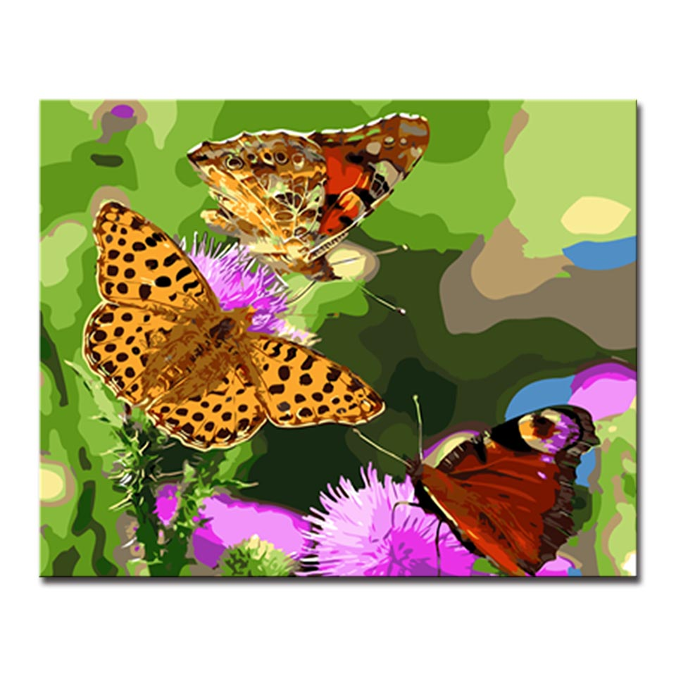DIY Oil Painting By Numbers Kits Coloring Handpainted Three Butterflies Fly In Purple Flowers Canvas Pictures Office Wall Decor